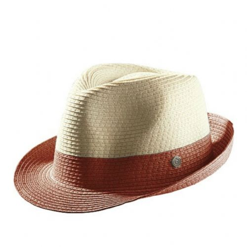 Bugatti Cream Straw Trilby Hat with coloured band & trim - Burgundy